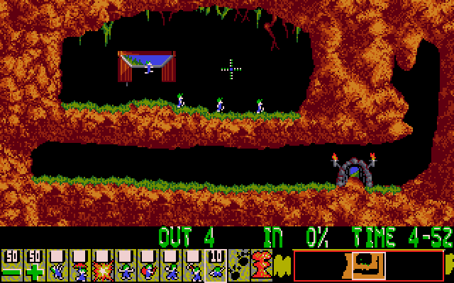 Screenshot of Lemmings (DOS)